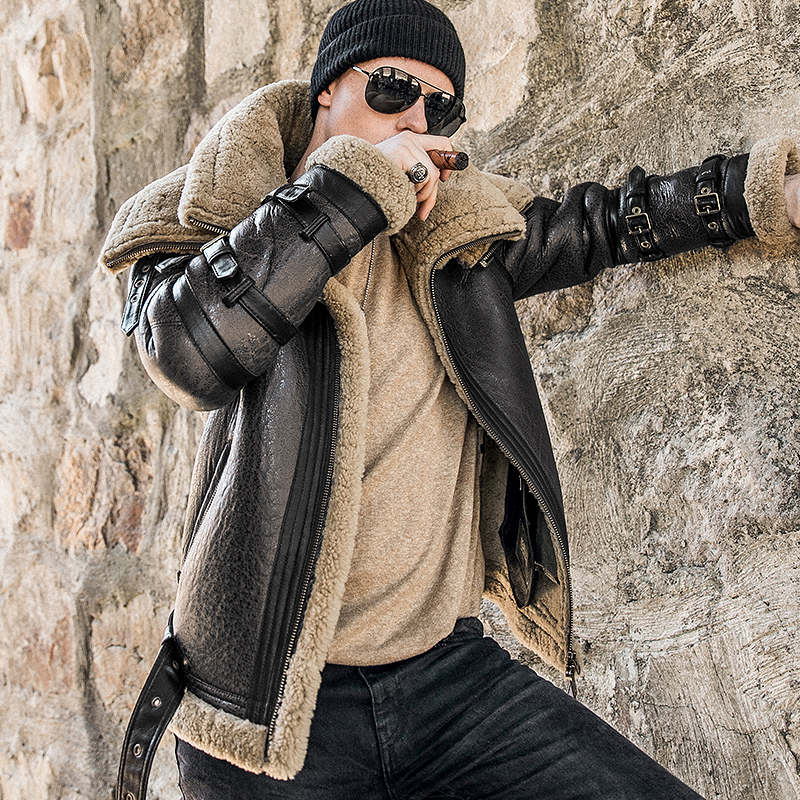 Abrigo de piel gruesa de invierno para hombre, abrigo de piel de oveja de doble cuello, chaqueta de piel de locomotora de alta gama, traje de la Fuerza Aérea masculina