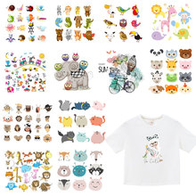 Iron On Patches Cute Cat Cartoon Animal Clothes Sticker DIY T-shirt Stripes Hippie Thermal Heat Transfer Printed E