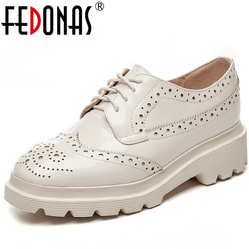 FEDONAS New Arrival Fashion Women Patent Leather Casual Shoes Basic Shoes Spring Summer Cross-Tied Fretwork Pattern Shoes Woman