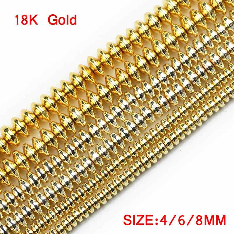 Jhnby Piring Terbang Bijih Besi Emas Perak Batu Alam 4/6/8 Mm Flat Bulat Pengatur Jarak Manik-manik Longgar untuk diseduh Sendiri Membuat Perhiasan Gelang