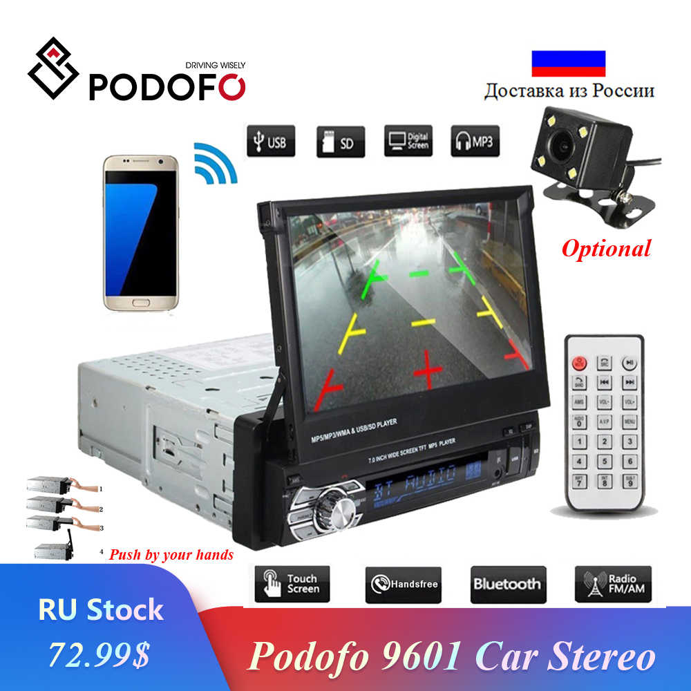 "Podofo coche estéreo Audio Radio Bluetooth 1DIN 7 ""HD retráctil pantalla táctil Monitor MP5 reproductor SD FM USB trasero cámara de vista"