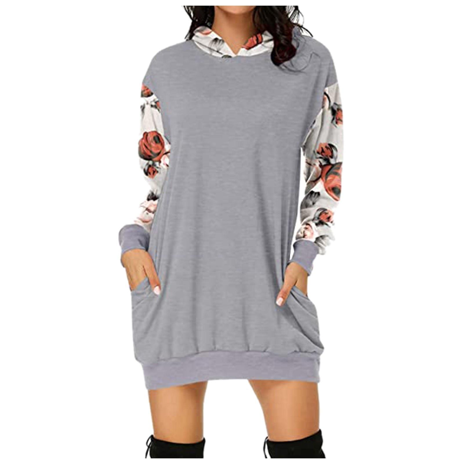 2021 Fashion Women Dresses Autumn Winter Elegant Floral Printed Jurk Hooded Pockets Short Female Sweatshirt Dress Femme #t2g 7
