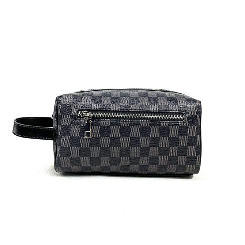 HORIZONPLUS Men's New GRID CHECK PLAID PATTERN Vegan Leather CLUTCH Wash Bag  TOILETRY BAG  Travel Accessories