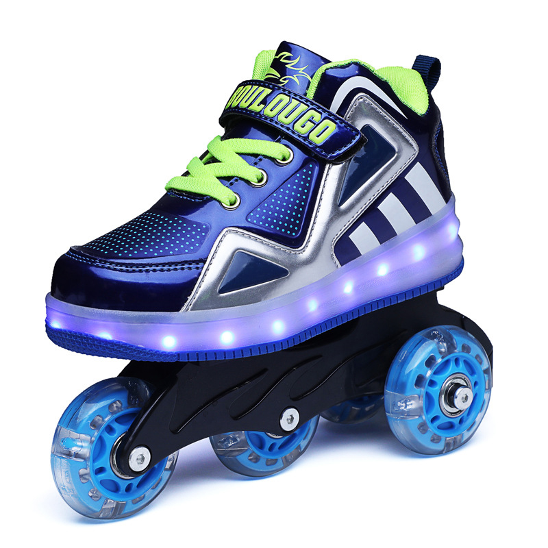 Kids Glowing Sneakers with Wheels New Boys Children Roller Skates LED Shoes Baby Led Light Up Shoes for Girls Children Sneakers