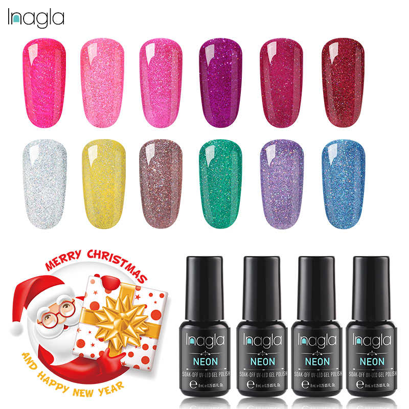 Inagla Nail Art Design Manicure Nails Gel UV Gel Varnish Hybrid Nail Art Sock Off Crismas Choosen 8ml Neon Nail Polish