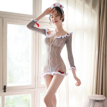 Sexy Lace mesh Nurse Costume Cosplay Female Dep V Neck Front zipper Mesh Teddy Dress See Through Fantasias Uniform for Female see through mesh lace backless teddy