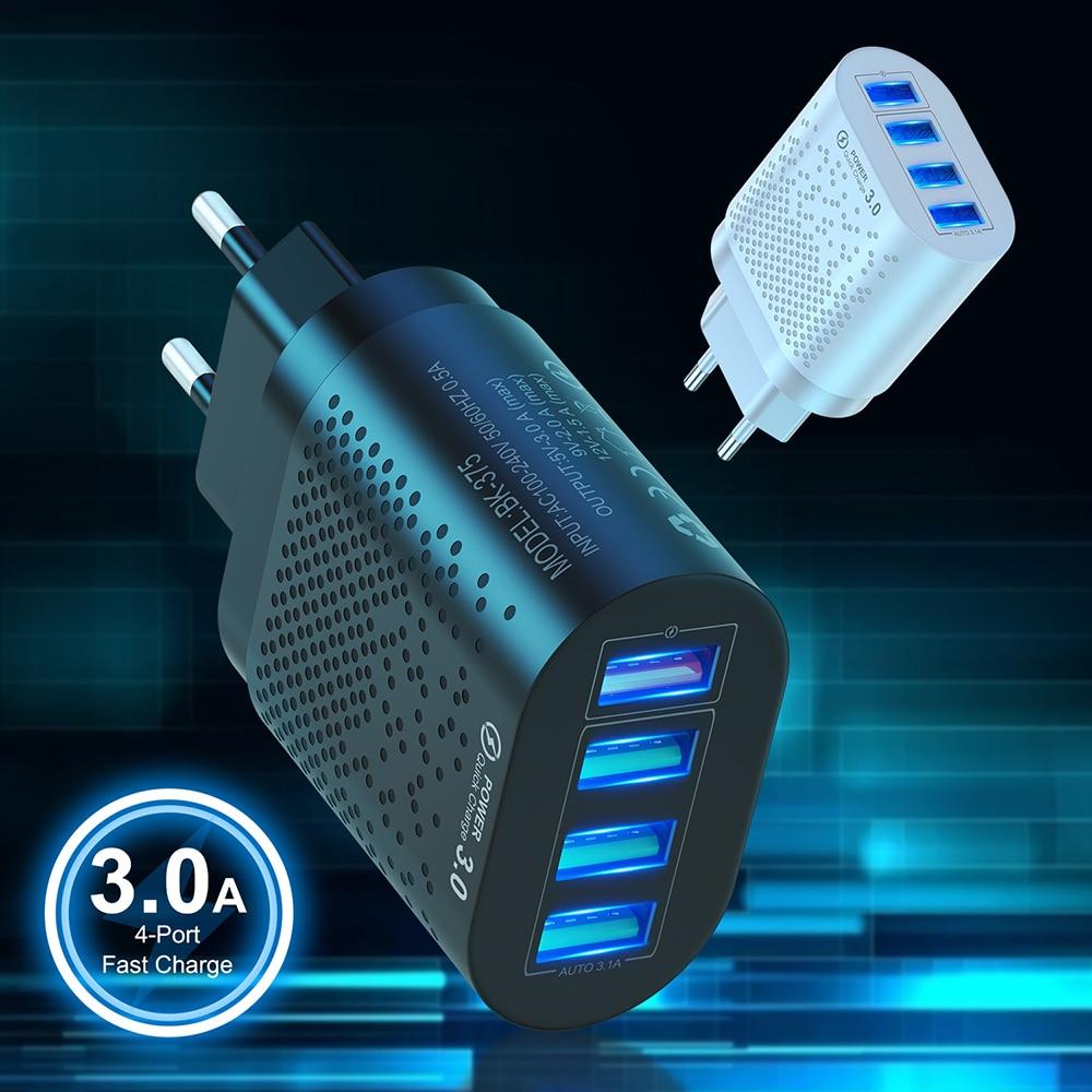 Portátil 4 usb carregador ue eua plug 5v 3a carregador de parede de carregamento rápido adaptador do telefone móvel para iphone ipad mini samsung xiaomi