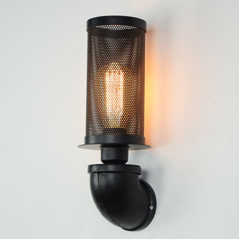 Industrial air pipe wall lamp single head iron metal mesh cover retro corridor bedside personalized wall hanging lamp