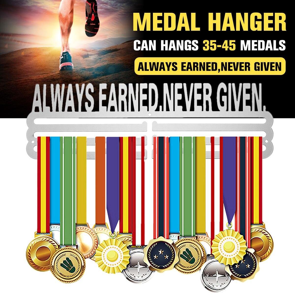 LWAYS gagné, jamais donné inspirant médaille cintre métal porte-médaille Sport médaille présentoir tenir 36 + médailles