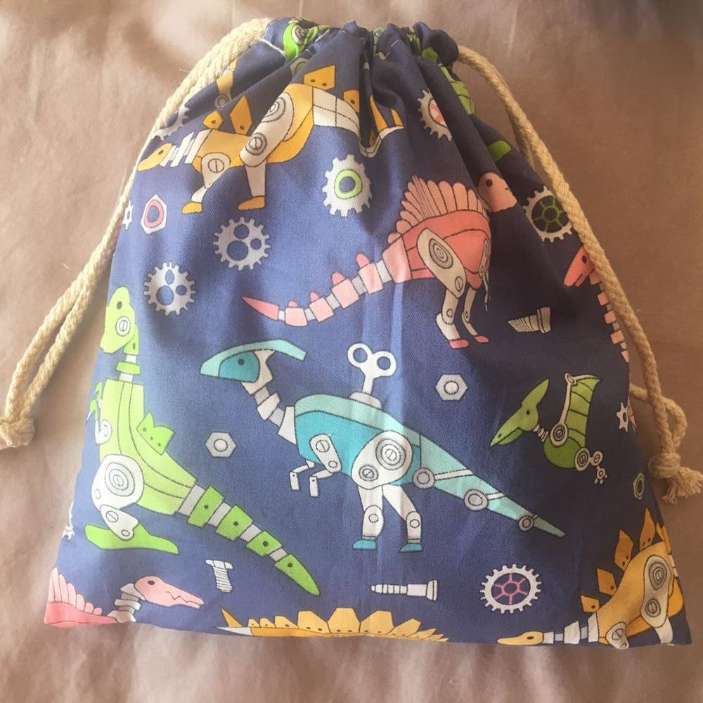 1pc Cotton Twill Drawstring Eco Organized Pouch Party Gift Bag Mechanic Dinosaur Blue YL320E