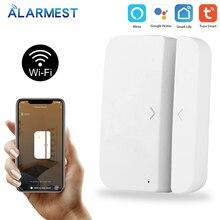 ALARMEST Tuya Smart WiFi Door Window Sensor Magnetic Detector Open / Closed Detectors APP Control Work With Amazon Alexa