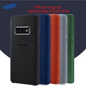 Image 1 - Samsung S10 Case oficjalna oryginalna prawdziwa skóra zamszowa etui samsung s10 plus telefon ochraniacz na drążek skrzyni biegów dla Galaxy S10e S10 + okładka