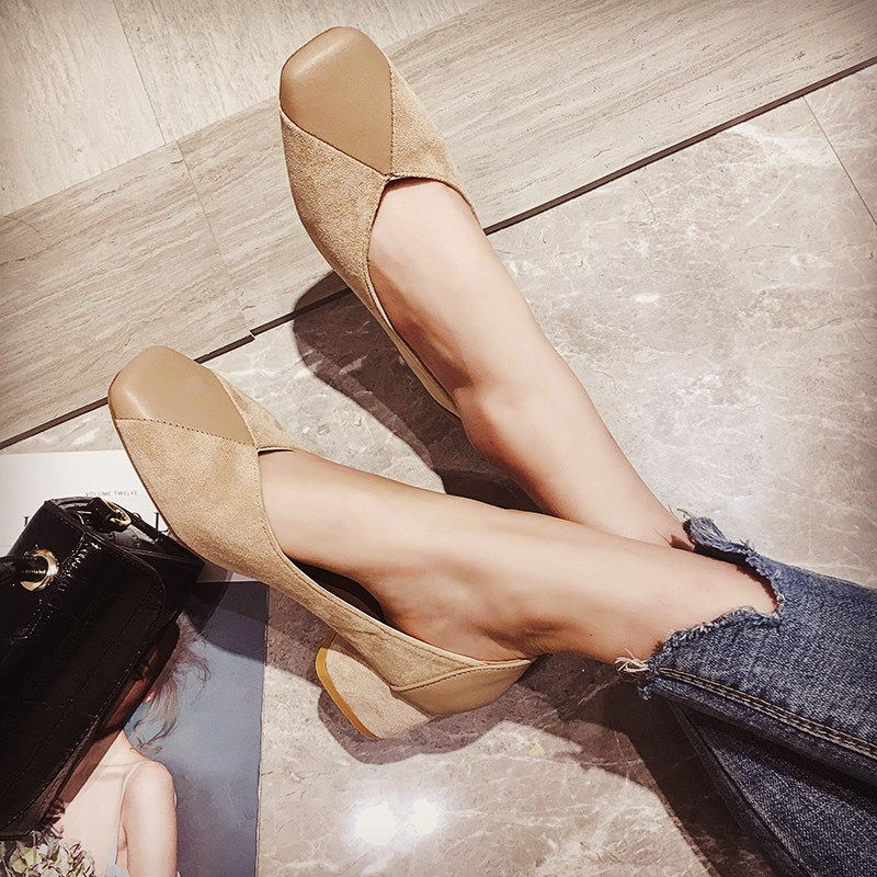 EOEODOIT Fashion Sexy V Mouth Pumps Mid Square Heel Square Toe Casual Shoes Spring Autumn Women Office Lady Footwear