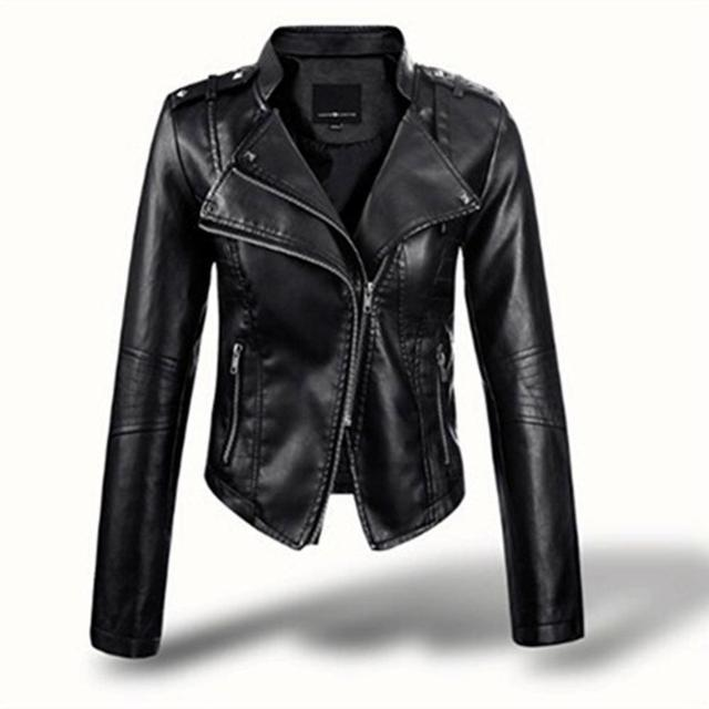 2020  Women Faux Leather Jacket Slim Outerwea Black Long Sleeve Zipper Turn-down Collar Short Coat Slim- Fit Top camperas mujer