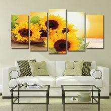 5 панелей подсолнечника Холст Плакаты с живописью и принты восход пейзаж Фреска настенные картины для Декор в гостиную