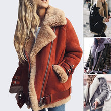 Faux Shearling Sheepskin Coats Women Suede Leather Jackets Autumn Winter Lambs Wool Short Motorcycle Windbreaker