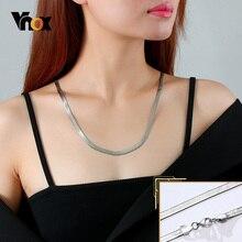 Vnox Flat Snake Chain for Women Men,3/4/5mm Minimalist Herringbone Necklace,Basic Punk Stainless Steel Metal Jewelry