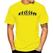 T-shirt manches courtes col rond Homme Blanc-évolution, mode science informatique amusant, en coton