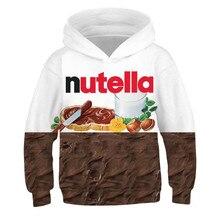Ramen noodle Nutella Hoodies genç kızlar için gıda 3D baskı çocuk kapüşonlu Sweatshirt çocuklar Hoodie kazak spor