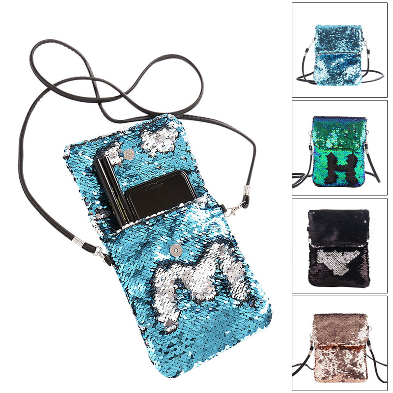 2019 Newly Fashion Women Sequins Crossbody Shoulder Bag Pouch Case Mini Mobile Phone Handbag Card Holder C55
