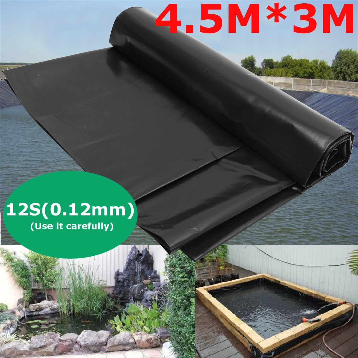 Fish-Pond Liner HDPE Garden-Pool-Reinforced Home Waterproof Cloth Black Landscaping Heavy