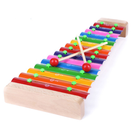 Wooden 15 Sound L Aluminum Sheet Toy Piano Children'S Educational Early Childhood Knock Piano Toys Teaching Aids