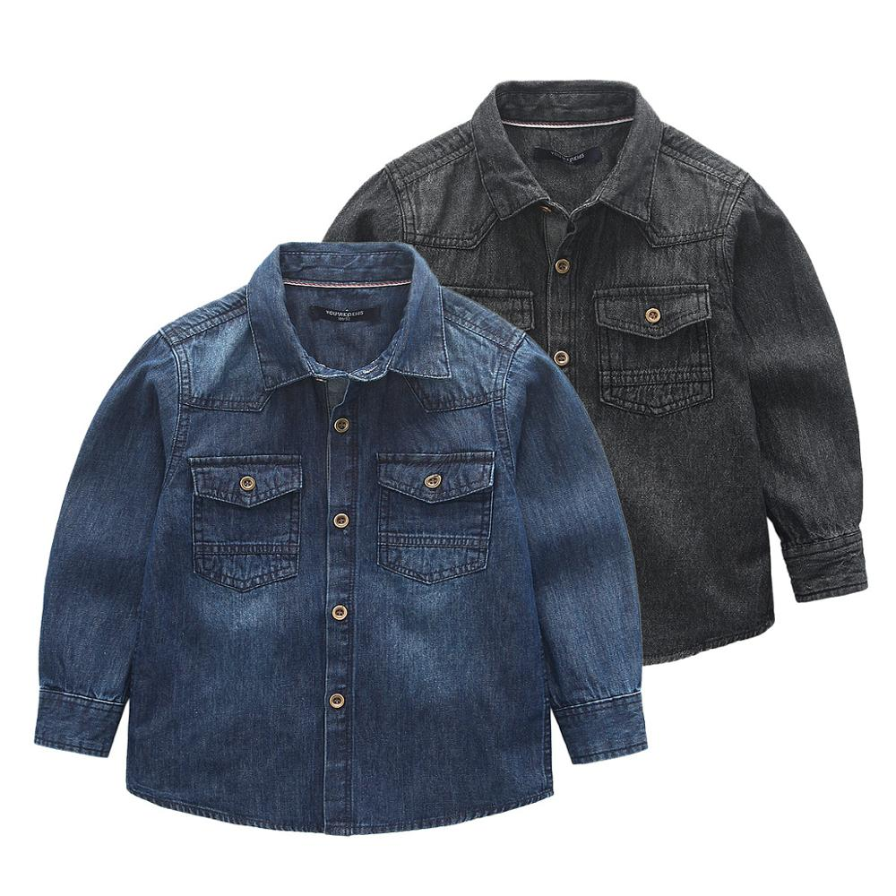 <font><b>Boys</b></font> <font><b>Shirts</b></font> for British Children Fashion Solid Jeans Long Sleeve School Blouses Kids Fall England Clothes Turndown Collar <font><b>7</b></font> <font><b>Year</b></font> image