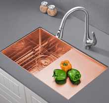 304 Stainless Steel Rose Gold Kitchen Sink Undermount Manual Sink Single Sink with Plate  Kitchen Bowl Set Steel