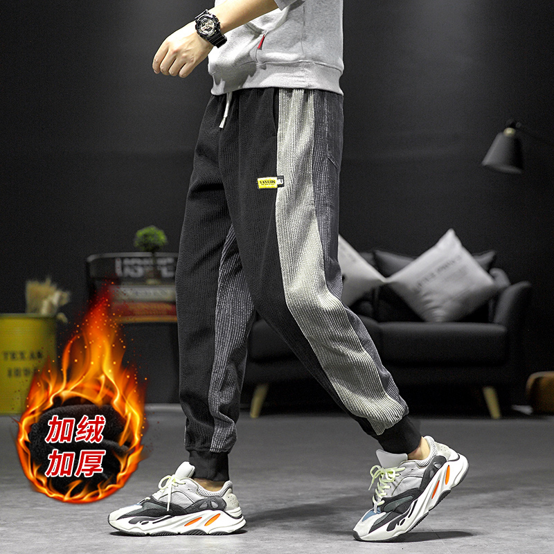 UYUK2019 Winter New Trend Fashion Versatile Original  With Suede And Thick Warm Men's Casual Pants Joggers Homme  Sweatpants