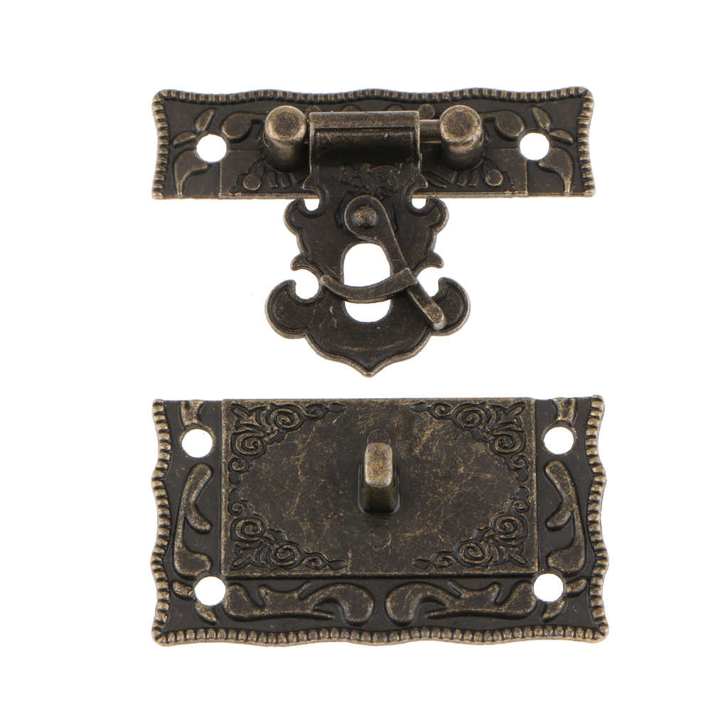 Vintage Embossed Hasp Latch Lock Mini Hinge Kit for Jewelry Box Chest Suitcase Cabinet Cupboard