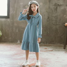 Girl Dress Mother Daughter Dresses 2019 Teenage Cute Kid Autumn Solid Cotton Children Blue Long School Casual