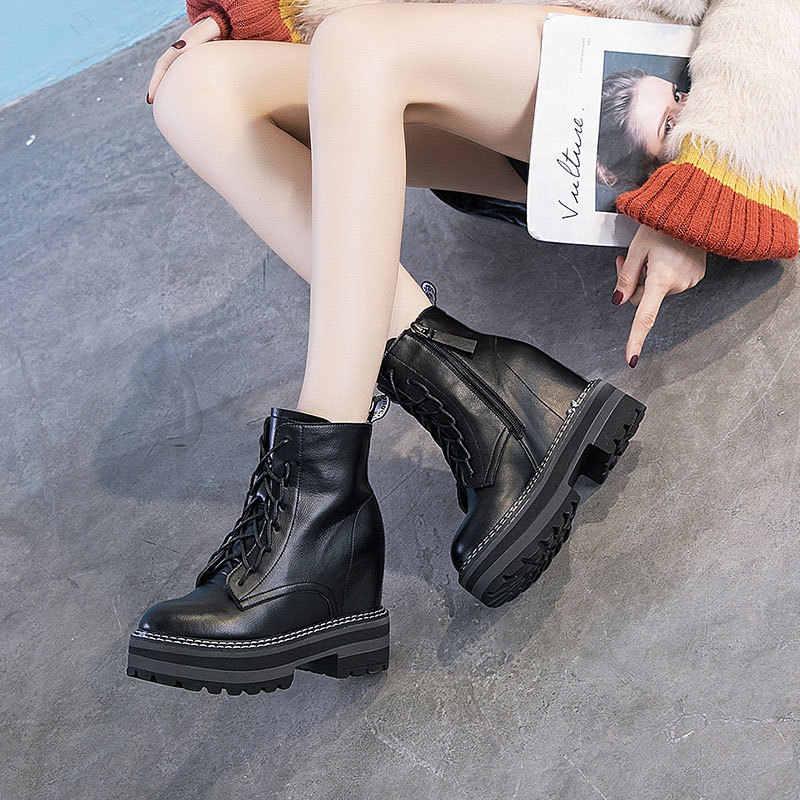 ผู้หญิงฤดูหนาวมาร์ตินรองเท้าผู้หญิงหนังข้อเท้ารองเท้าผู้หญิงเก็บ WARM แพลตฟอร์ม Wedges รองเท้า B23-51