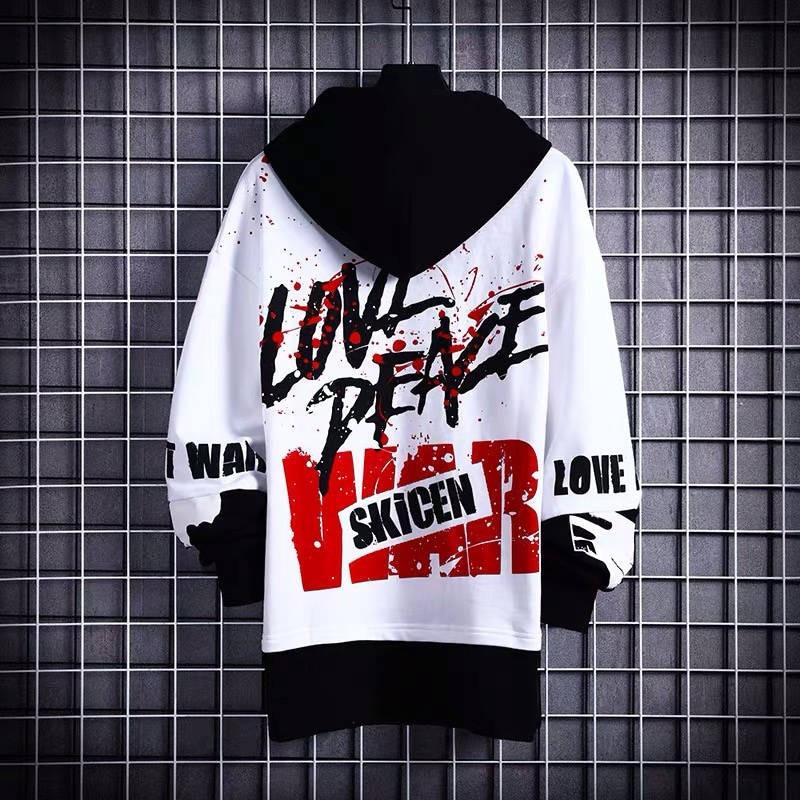 Korean Style Men Hoodies Japanese Fake Two Piece Man Casual Autumn Sweatshirts Hip Hop Male Streetwear Letter Print Hoodie Male