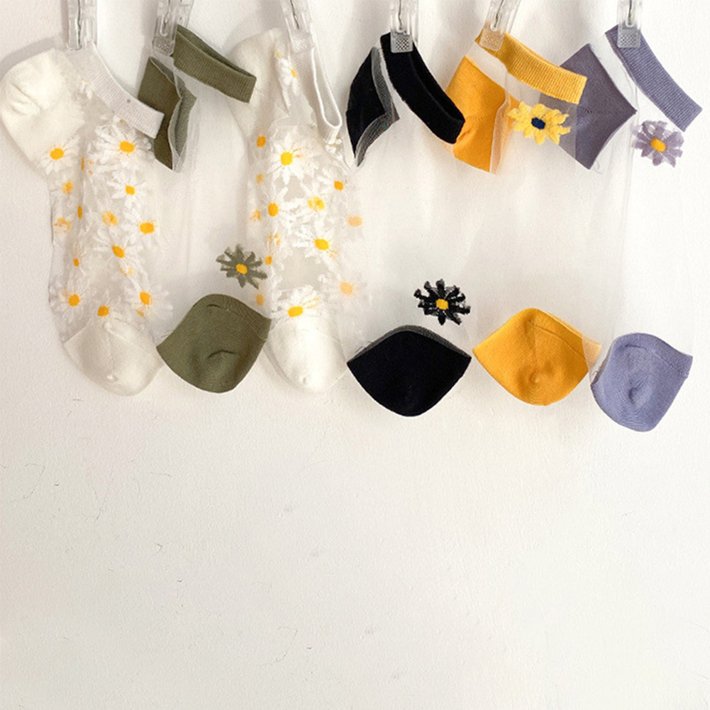 Women Socks 2020 Spring New Embroidery Fashion Short Cute Socks For Women Flowers Ankle Funny Socks Transparent Korean Style