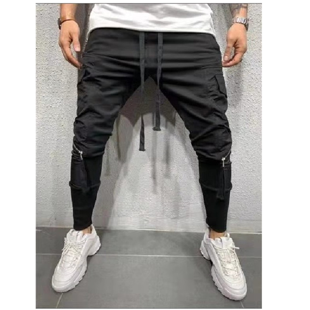 2019 Men Streetwear Pants Black Harem Pants Light Men Punk Pants Ribbons Casual Slim Jogger Pants Men Hip Hop Trousers