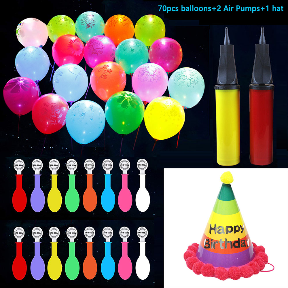 Flashing Led Balloons Birthday Hat Air Pumps Set,Assorted Colors Led Light Up Ballons For Birthday,Celebration Party Supplies