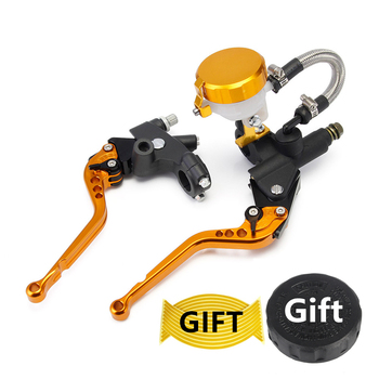 """7/8"""" 22mm Gold Universal Aluminium Motorcycle Brake Clutch Levers Master Cylinder Reservoir Set for 125cc to 600cc D20"""