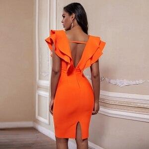 Image 4 - Deer Lady Sexy Bandage Dresses For Women 2019 New Orange Ruffled Bandage Dress Bodycon V Neck Vestidos Celebrity Party Dress