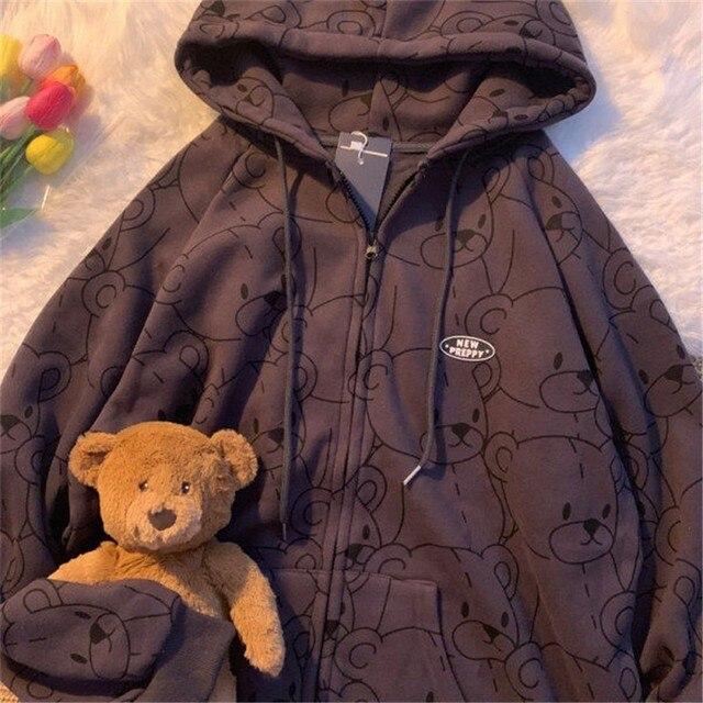Summer 2021 Fashion Zip Up Cute Bear Sweetshirt Vintage Long Sleeve Spring Clothes Women Hoodies Coat Loose Harajuku Tops 2