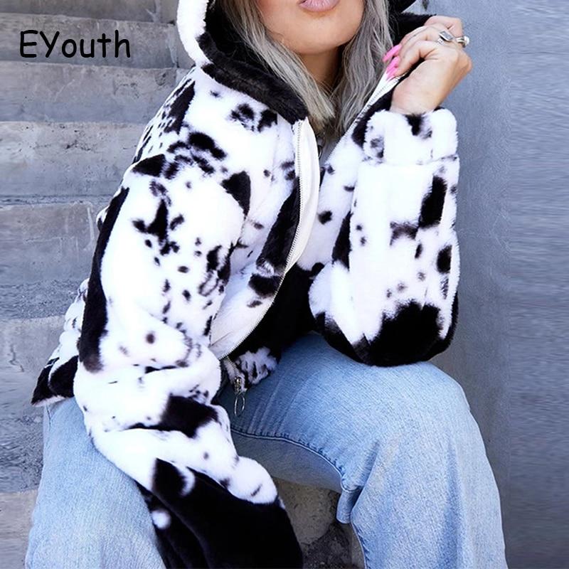 Casual street cow pattern Lamb Wool coats Autumn winter loose hip hop oversize thicken warm zipper jacket women outerwear