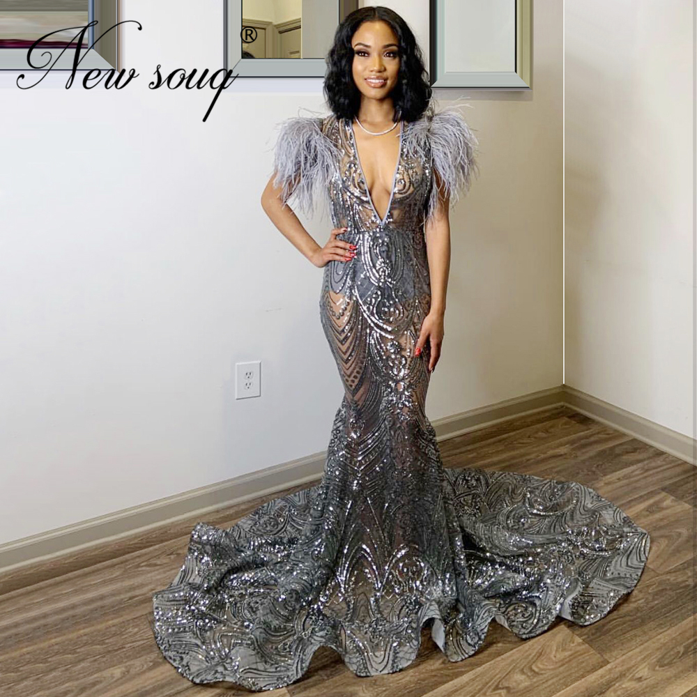 Sliver Transparent Evening Dress V Neck Dubai Feathers Prom Dress For Weddings Middle East Robe De Soiree Islamic Formal Gowns