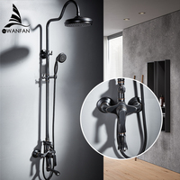 Shower Faucets Brass Black Bathtub Faucet Square Tube Single Handle Top Rain Shower With Slide Bar Wall Water Mixer Tap 877862R