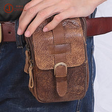Men Waist Bag Leather Fanny Pack Belt For Men Zipper Small Card Holder Phone Wallet Packs Waist Belt Bag Male Cell Phone Bum Bag(China)
