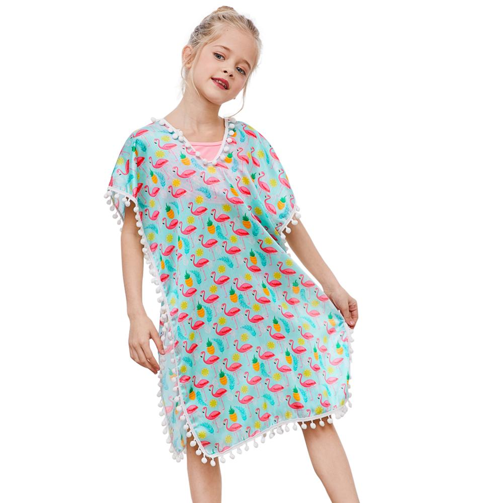 Fioday New Summer Cover-ups Swimsuit For Girls Soft Wraps Beach Dress With Pompom Tassel Chlid Beach Casual Swimsuits Beachwear