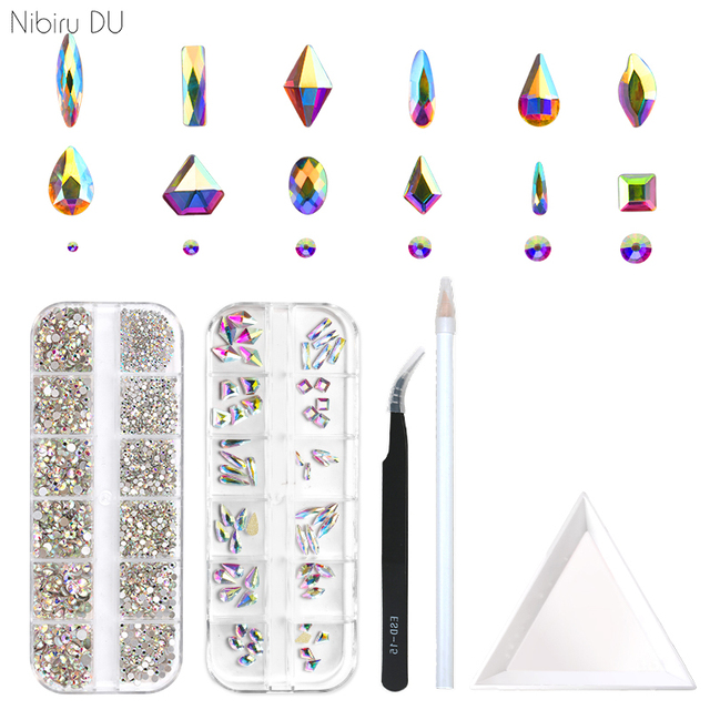 2220 Pcs Nail Decorations Rhinestones Glass Gems Stones Set Multi Shaped Crystal AB FlatBack Rhinestones For Nails Art 3D Craft 1