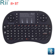 Rii i8 + Mini ratón de aire con teclado Bluetooth retroiluminado con almohadilla táctil para Mini PC Android TV Box proyectores para ordenador portátil inalámbrico ratón(China)