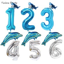 Twins Mini Baby Shark Birthday Party Decorations Balloon 1st Theme Sea Animals Baloon