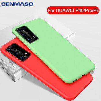 Capa de silicone para Huawei P40 P30 P20 Pro Case Capa de silicone líquida macia para Huawei Mate 30 20 P40 Lite honor 20 Pro Case