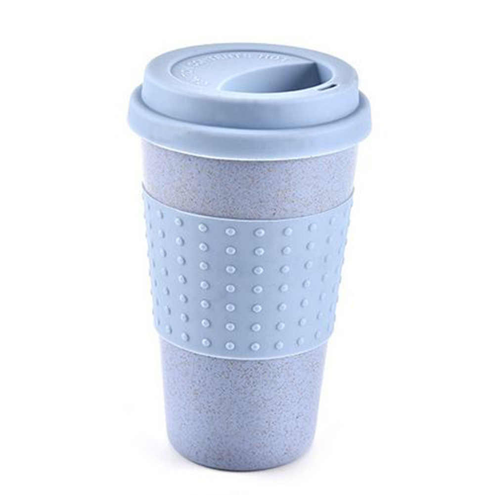 يمكن إعادة استخدامها كوب ماء كولا أكواب القهوة القمح القش زجاجة شرب صحية متعددة الوظائف مع غطاء القهوة القدح السفر القدح