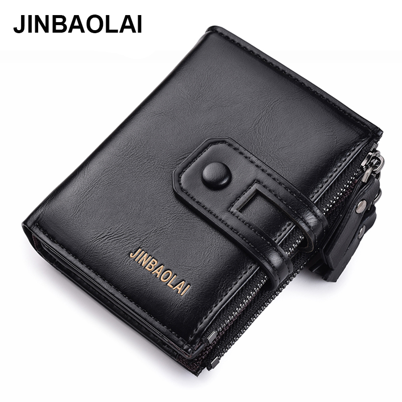 2019 Men Wallets Short PU Leather Double Zipper Hasp Men Purses Card Holder Coin Pocket Vintage High Quality Brand Men Wallets